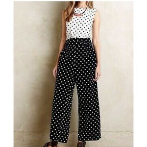 Anthropologie navy and white polka dot jumpsuit